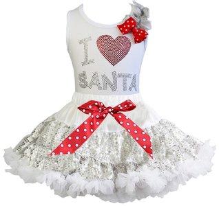 Kerst petticoat glitter zilver top I love santa