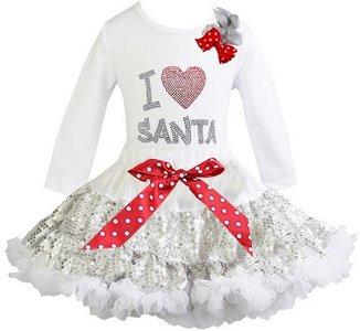 Kerst petticoat glitter zilver top I love santa longsleeve
