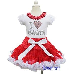 Kerst petticoat set rood wit top i love santa