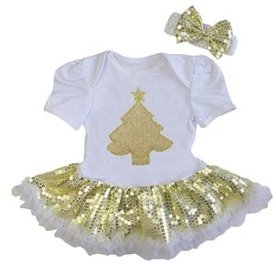 baby jurk glitter goud kerstboom