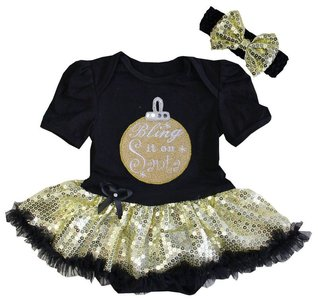 baby jurk zwart  glitter goud kerstbal