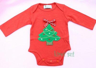 Baby romper kerstboom rood longsleeve