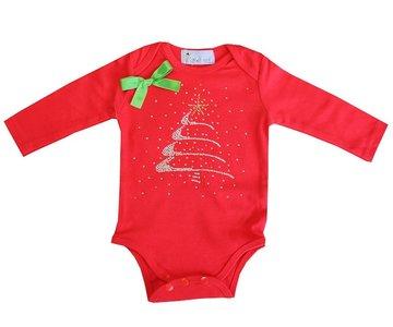 Baby kerstromper glitter kerstboom longsleeve rood