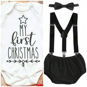 1e kerst romper set zwart wit