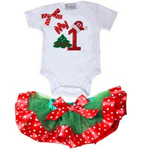 1e kerst Baby petticoat + kerstromper