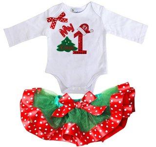 1e kerst Baby tutu + kerstromper longsleeve