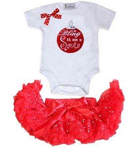 1e kerst Baby kerst petticoat + kerstromper kerstbal shortsleeve