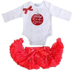 1e kerst Baby kerst petticoat + kerstromper kerstbal longsleeve