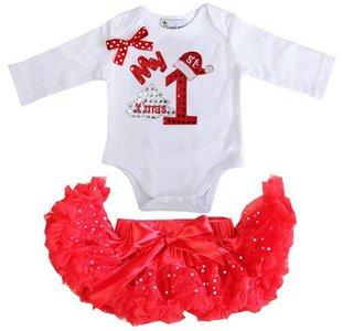 1e kerst Baby kerst petticoat + kerstromper 1e kerst longsleeve