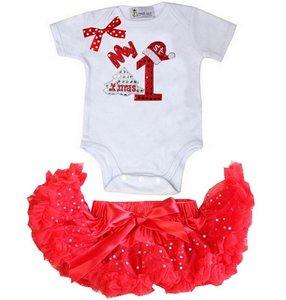 1e kerst Baby kerst petticoat + kerstromper 1e kerst