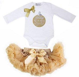 1e kerst Baby kerst petticoat + kerstromper goud kerstbal longsleeve