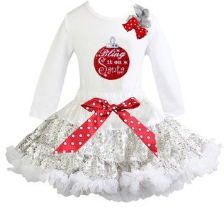 Kerst petticoat glitter Wit zilver kerstbal bling it on