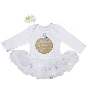 1e kerst baby jurk Wit gouden kerstbal Bling it on kerstbal