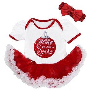 baby kerstjurk glitter kerstbal rood wit