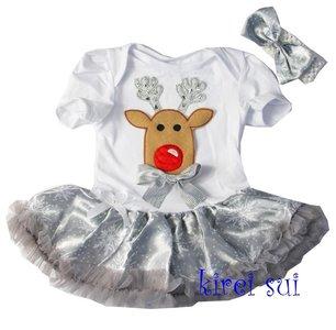 baby kerstjurk zilver render rode neus
