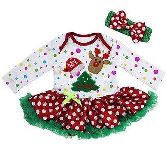 1e kerst baby jurk rendier colorful longsleeve