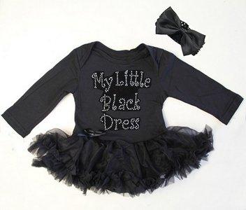 baby jurk zwart glitter My little black dress longsleeve