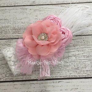 Kanten haarband luxe rose pink flower