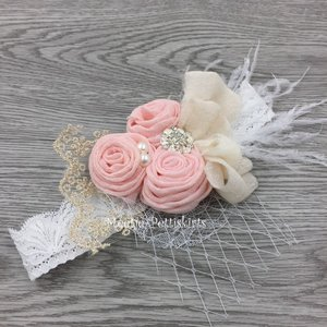 luxe couture haarband linnen bloem rossette pink