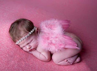Engelvleugels Luxe pink + Haarband Newborn,