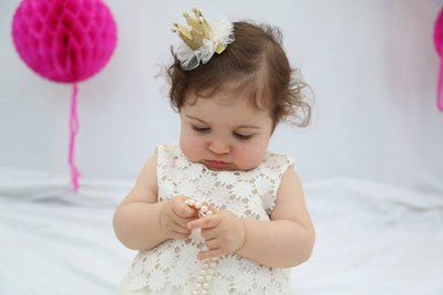 Baby Girls Bling Gold Kroon Pearl Haar Clip.