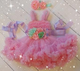 Baby Feestjurk Roze luxe 3delig