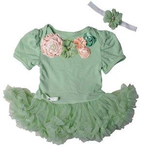 Baby jurk romper Flower Vintage Luxe Garden Pistache
