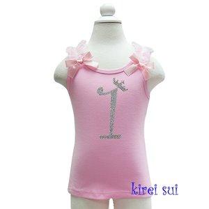 Verjaardag tanktop Glitter cijfer 1 roze