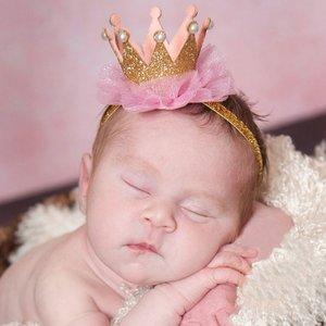 Kroon haarband goud roze ruffle