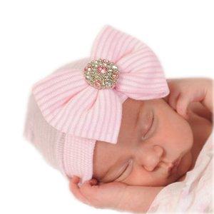 Baby mutsje ziekenhuis 1e mutsje roze Strik glittersteen