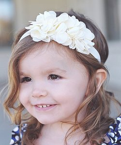 Haarband Chiffon bloem sparkle wit