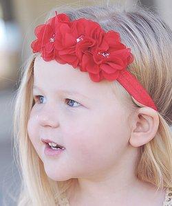 Haarband Chiffon bloem sparkle rood