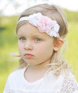 Haarband Chiffon bloem sparkle wit roze