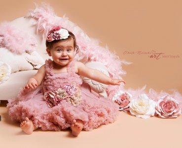 Luxe Feestjurk Pettidress By Meetje Dusty Pink Vintage Flower 62-158
