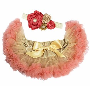 Baby Petticoat antiek goud blush pink & haarband
