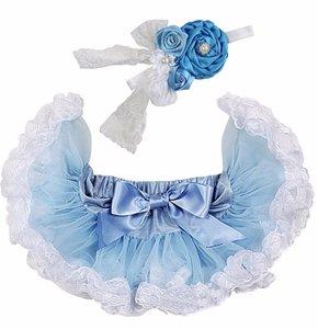 Baby Petticoat Licht blauw kant & haarband