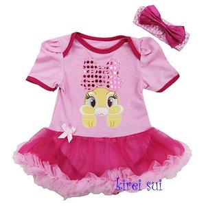 Baby jurk pasen Konijn roze Hotpink Glitter strik