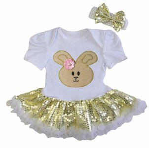 Baby jurk pasen Konijntje goud glitter