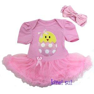 Baby jurk roze kuikentje pasen