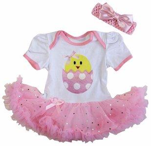 Baby jurk roze glitter kuikentje