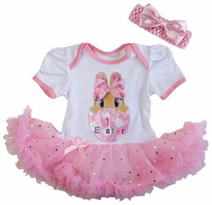 Baby jurk 1e pasen konijntje glitter roze