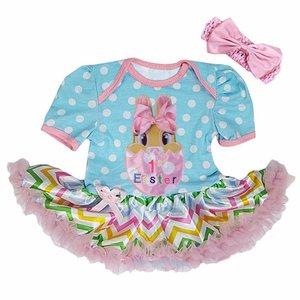 Baby jurk 1e pasen konijntje Pastel Colorful