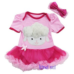 Baby jurk pasen 3d schaapje pink hotpink
