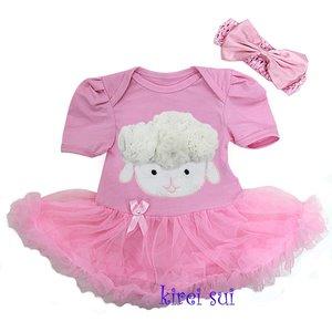 Baby jurk pasen 3d schaapje pink