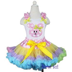 Paas Petticoat set Rainbow konijn