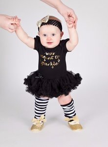 4delige set Baby Pettidress Romper I Was Meant To Sparkle