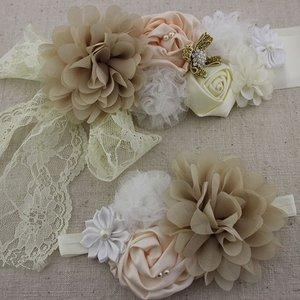 Handgemaakte Luxe Rose Garden Vintage White Cream Camel Ceintuur + bijpassende haarband