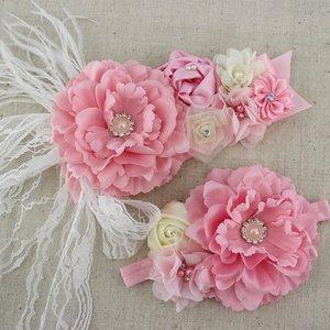 Handgemaakte Luxe Rose Garden Light Pink Cream Ceintuur + bijpassende haarband