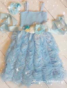 Feestjurk Meisje luxe Sky Blue Flower Riem & Haarband
