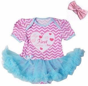 baby jurk romper 1st Mother's Day Blauw roze streep